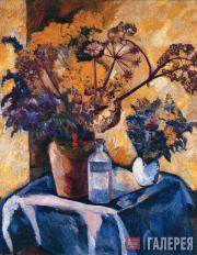 Н.ГОНЧАРОВА. Натюрморт на желтом фоне. 1908