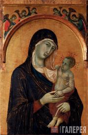 Дуччо ди Буонинсенья. Мадонна с Младенцем и шестью ангелами. 1300–1305