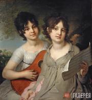 Портрет сестер княжон А.Г. и В.Г. Гагариных. 1802