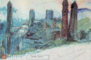 Х.-Б.Б. АХРИЕВ. Селение Эрзи. Ингушетия. 1929