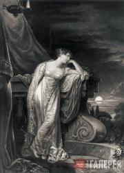 Джордж Доу. Портрет О'Нейл в роли Джульетты.  Эскиз. 1815