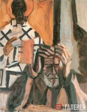 Н.И. Андронов. Автопортрет с Николой. 1990