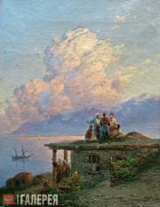 Иван Айвазовский. Вид на море от турецкого берега при заходе cолнца. 1898