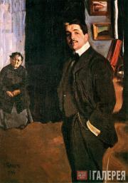 Л.С.Бакст.  Портрет С.П.Дягилева с няней. 1906