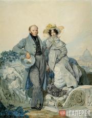 К.П. Брюллов. Портрет Г.Н. и В.А. Олениных. 1827
