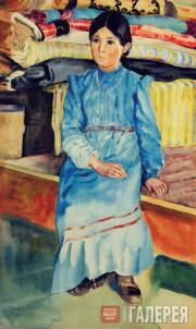 К.С. Девлеткильдеев. Девочка-башкирка в голубом. 1928
