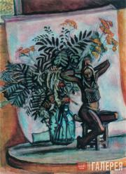Рябина, пижма и бронзовая скульптура. 1986