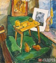 Н.С. Гончарова. ФРУКТЫ И ГРАВЮРА(В мастерской художницы). 1907–1908