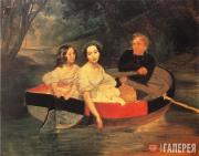 К.П.БРЮЛЛОВ. Портрет автора и баронессы Е.Н.Меллер-Закомельской с девочкой в лод