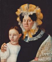 И.М.ГОРБУНОВ. Бабушка с внучкой. 1831
