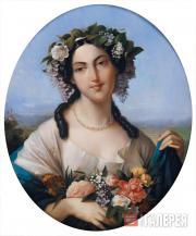 Аликс ДЮВАЛЬ. Портрет неизвестной в образе Флоры