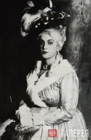Сцена из спектакля «Сестры Жерар»: Графиня де Линьер –  Е.С. Телешева. 1927