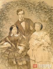 Портрет С.М.Третьякова с женой Е.С.Третьяковой (урожденной Мазуриной) и ее старш