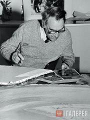 А.П.Ковалев за работой. 1984