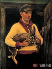 Николай ЗАГРЕКОВ. Крестьянин с кроликом-призером. 1925
