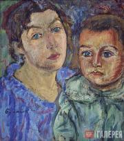 Д.Д.Бурлюк. Портрет женщины с мальчиком. 1917
