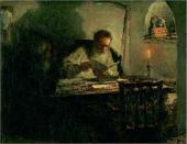 Л.О. ПАСТЕРНАК. Чтение рукописи. (Л.Н. Толстой и Н.Н. Ге). 1894