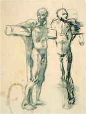 Натурщик в позе распятого разбойника. 1893