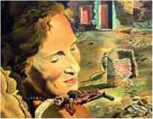Портрет Гала с двумя бараньими ребрышками, удерживающими равновесие на ее плече.