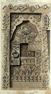 Эскиз двери «Сказочная» (наружная сторона) для абрамцевской столярной мастерской