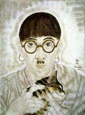 Цугухару ФУДЖИТА. Автопортрет с кошкой. 1928