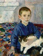 А.А. ПЛАСТОВ. Портрет Коли с кошкой. 1935–1936