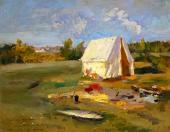 Утро. Охотничья палатка. 1914