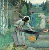 ТРУДЫ ПРЕПОДОБНОГО СЕРГИЯ. 1896–1897. Триптих. Центральная часть.