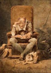 Михаил (Михай) ЗИЧИ. За чтением. Старик («Ночь»). 1867