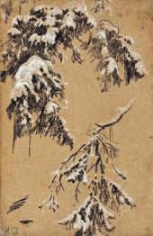 Иван ШИШКИН. Ветки под снегом. 1890