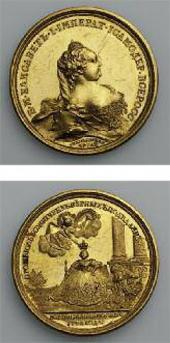 МЕДАЛЬ НА КОРОНОВАНИЕ ИМПЕРАТРИЦЫ ЕЛИЗАВЕТЫ ПЕТРОВНЫ В 1742 ГОДУ