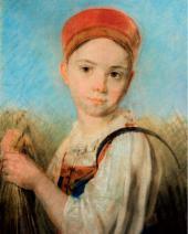 А.Г. ВЕНЕЦИАНОВ. Крестьянская девушка с серпом во ржи. Конец 1810-х–начало 1820-