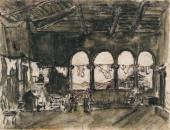 А.Н. БЕНУА. На галерее. Эскиз декорации к пьесе К. Гольдони «Трактирщица». 1913
