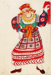 Сенная девушка Эскиз костюма к опере-балету Римского-Корсакова «Золотой петушок»
