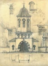 А.В. Щусев. Рабочий проект колокольни храма Св. Троицы в Кугурештах Фасад.