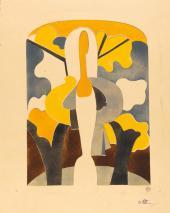 Н.С. Гончарова. Девушка на фоне осеннего пейзажа Пошуар. Середина 1920-х