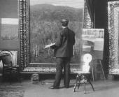 И.И. Левитан за работой в московской мастерской. 1890-е.