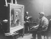 В.А. Серов за работой над портретом Левитана в его московской мастерской. 1892–1