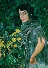 Испанка с букетом желтых цветов. 1906–1907