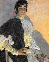 Испанка в черной шали. 1908. Фрагмент