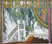 Балкон замка. Эскиз декорации к комедии П.-О. Бомарше «Безумный день, или ...»