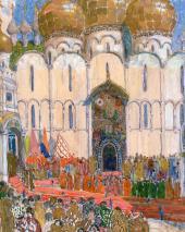 Площадь в Кремле. Эскиз декорации к опере М.П. Мусоргского «Борис Годунов »