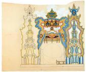 Эскиз декорации (вариант разработки) для постановки оперы И.Ф. Стравинского