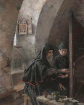 А.Я. Головин. В иконописной. Древнерусский иконописец. 1894