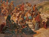 Г.Г. Гагарин. Офицеры на привале в селении Сиук в Дагестане