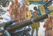 Е.Е. Лансере. Бойцы у трофейных орудий. 1942