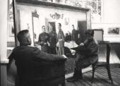 К.М. Молчанов пишет портрет для картины «Разработка Генералитетом...». 1945