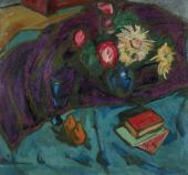 А.В.КУПРИН. Цветы на фоне фиолетовой драпировки. 1910