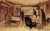 ЭДВАРД МУНК. СЦЕНА ИЗ ПЬЕСЫ Г.ИБСЕНА «ПРИЗРАКИ». 1906