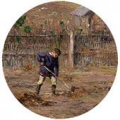 В огороде (Разбрасыватель навоза). Жабовщизна. 1904